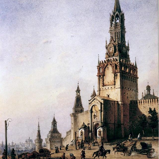 Спасская (Фроловская) башня. Акварель. И.Вейс. 1852 г.